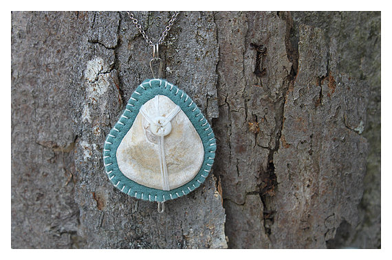 Shell Pendant, Felt and Bone - Completely Hand Made.